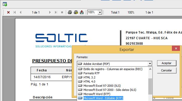 Nueva opción de exportación Microsoft Word Editable