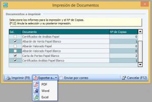 Impresión y exportación de documentos en ERP Soltic